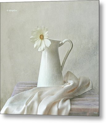 Still Life With White Flower Metal Print by by MargoLuc