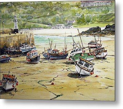 St.ives Harbour Low Tide Cornwall Metal Print by Keran Sunaski Gilmore