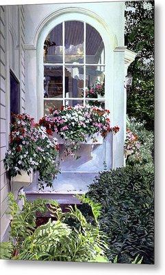 Stockbridge Window Boxes Metal Print by David Lloyd Glover