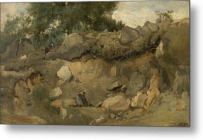 Stone Mine Of Chaise-marie In Fontainebleau Metal Print by Jean-Baptiste Camille Corot