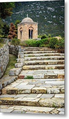 Stone Stair Walkway At Moni Osios Loukas In Distomo, Greece Metal Print by Global Light Photography - Nicole Leffer