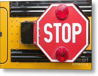Stop Sign On School Bus Metal Print by Andersen Ross