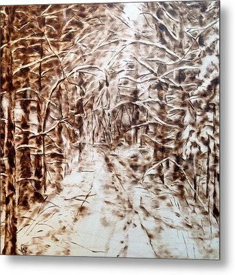 Stopping By Woods On A Snowy Evening Metal Print by Victoria General
