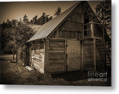 Storage Shed In Sepia Metal Print by Kirt Tisdale
