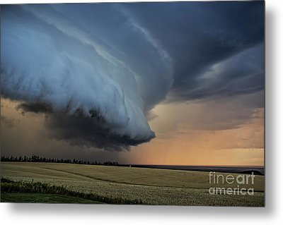 Storm Approaching Cape Tryon Lighthouse Metal Print by Edward Fielding