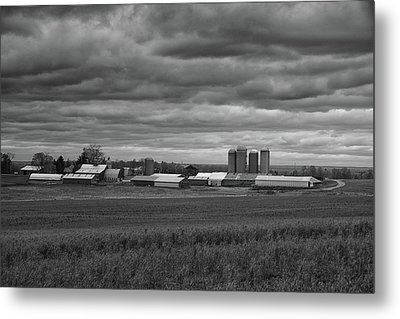 Storm Moves In On A Farm Metal Print by Raymond Salani III