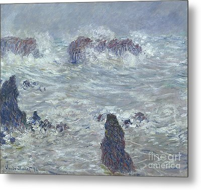 Storm Off The Coast Of Belle Ile Metal Print by Claude Monet