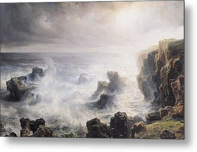 Storm Off The Coast Of Belle Ile Metal Print by Jean Antoine Theodore Gudin
