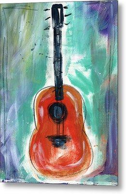 Storyteller's Guitar Metal Print by Linda Woods