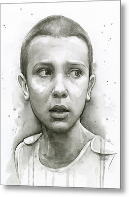Stranger Things Eleven Upside Down Art Portrait Metal Print by Olga Shvartsur