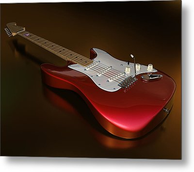 Stratocaster On A Golden Floor Metal Print by James Barnes