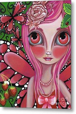 Strawberry Butterfly Fairy Metal Print by Jaz Higgins