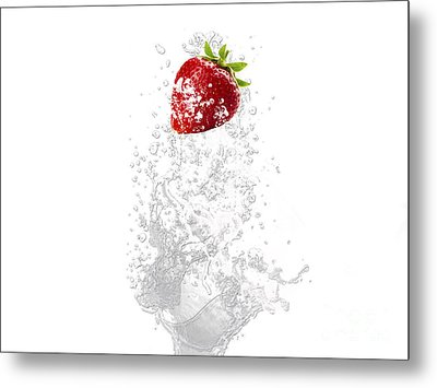 Strawberry Splash Metal Print by Marvin Blaine