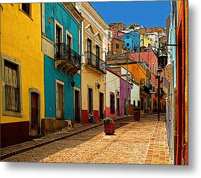 Street Of Color Guanajuato 4 Metal Print by Mexicolors Art Photography
