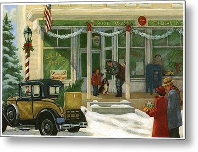 Street Scene In Small Town With People Metal Print by Gillham Studios