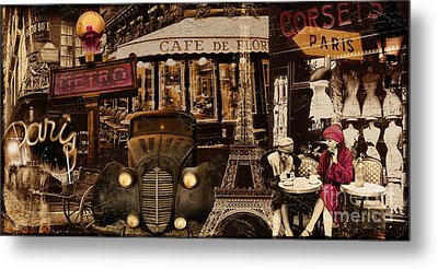 Streets Of Paris Metal Print by Mindy Sommers