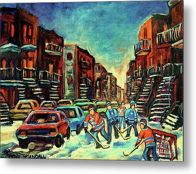 Streetscenes Of Montreal Hockey Paintings By Montreal Cityscene Specialist Carole Spandau Metal Print by Carole Spandau