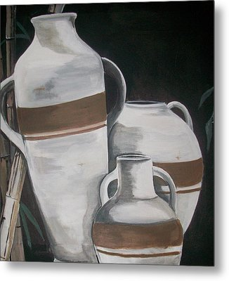 Striped Water Jars Metal Print by Trudy-Ann Johnson