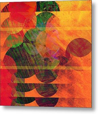 Stripes And Circles Metal Print by Ann Powell
