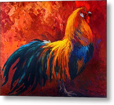 Strutting His Stuff - Rooster Metal Print by Marion Rose