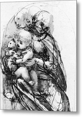 Study For A Madonna With A Cat Metal Print by Leonardo da Vinci