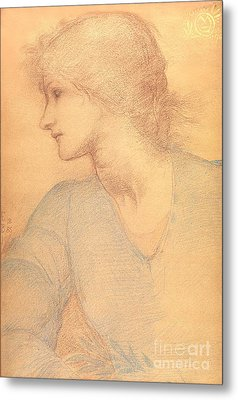Study In Colored Chalk Metal Print by Sir Edward Burne-Jones