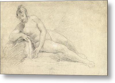Study Of A Female Nude  Metal Print by William Hogarth