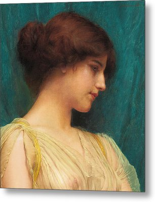 Study Of A Girl's Head Metal Print by John William Godward