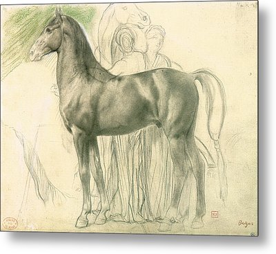 Study Of A Horse With Figures Metal Print by Edgar Degas