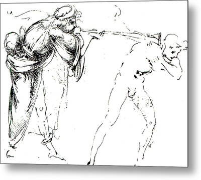 Study Of A Man Blowing A Trumpet In Another's Ear Metal Print by Leonardo da Vinci