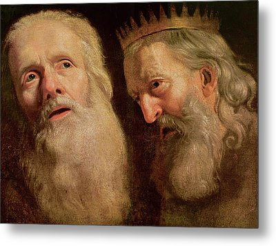 Study Of The Heads Of Two Old Men Metal Print by Philippe de Champaigne