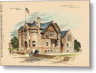 Sub Police Station. Chestnut Hill Pa. 1892 Metal Print by John Windrim