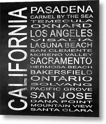 Subway California State 2 Square Metal Print by Melissa Smith