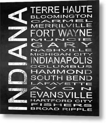 Subway Indiana State Square Metal Print by Melissa Smith