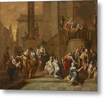 Suffer The Little Children To Come Unto Me Christ Heals A Paralytic Metal Print by German masters
