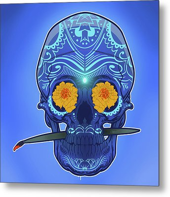 Sugar Skull Metal Print by Nelson Dedos Garcia