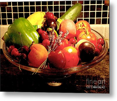 Summer Fruit And Veggies Still Life -- Another Fresh Paintograph Metal Print by Christine S Zipps
