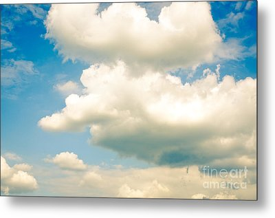 Summer Sky Blue Sky White Clouds Metal Print by Andy Smy