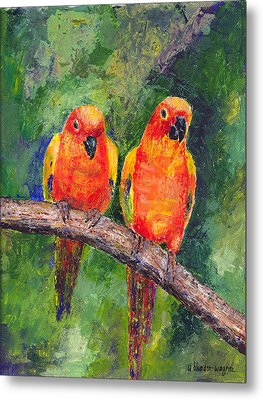 Sun Parakeets Metal Print by Arline Wagner