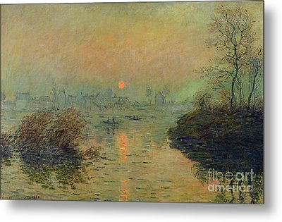 Sun Setting Over The Seine At Lavacourt Metal Print by Claude Monet