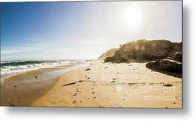 Sun Surf And Empty Beach Sand Metal Print by Jorgo Photography - Wall Art Gallery