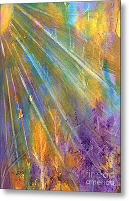 Sunburst Through The Forest Abstract  Metal Print by Ellen Levinson