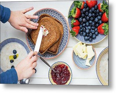Sunday Family Breakfast Metal Print by Anna Denisova