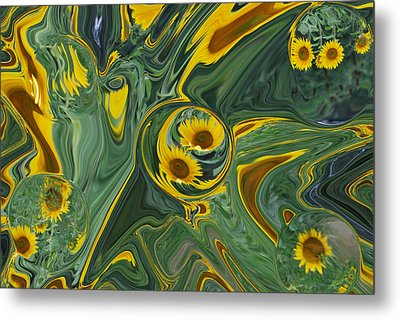 Sunflower Abstract Metal Print by Michelle  BarlondSmith