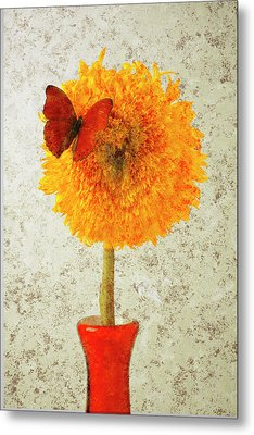 Sunflower And Red Butterfly Metal Print by Garry Gay