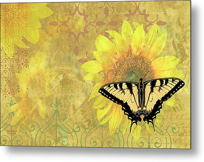 Sunflower Butterfly Yellow Gold Metal Print by JQ Licensing