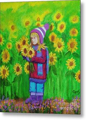 Sunflower Girl Metal Print by Nick Gustafson
