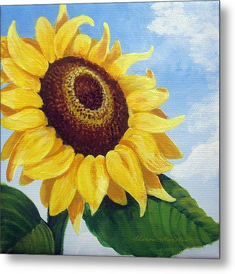 Sunflower Moment Metal Print by Sharon Marcella Marston
