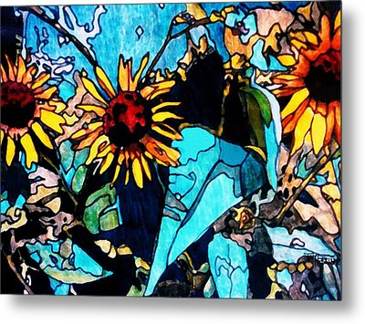 Sunflowers Blue Metal Print by Tom Herrin
