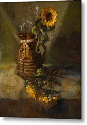 Sunflowers In Clay Pitcher Metal Print by Sandra Quintus